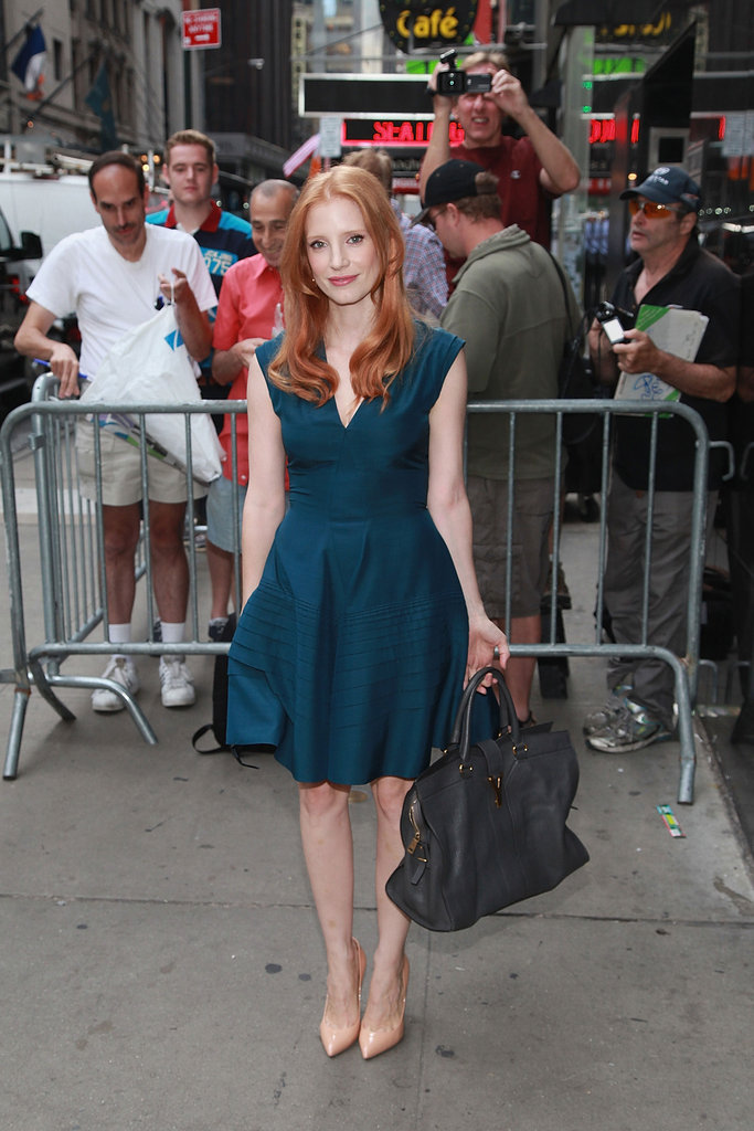 Jessica Chastain was a total sophisticate in a ladylike YSL dress on her way into Good Morning America.