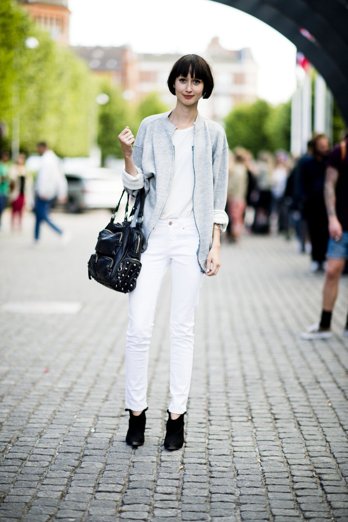 This is how you do white after Labor Day, with a structured tomboy topper and a pair of rugged ankle boots to channel Fall's moodier feel. Source: Adam Katz Sinding