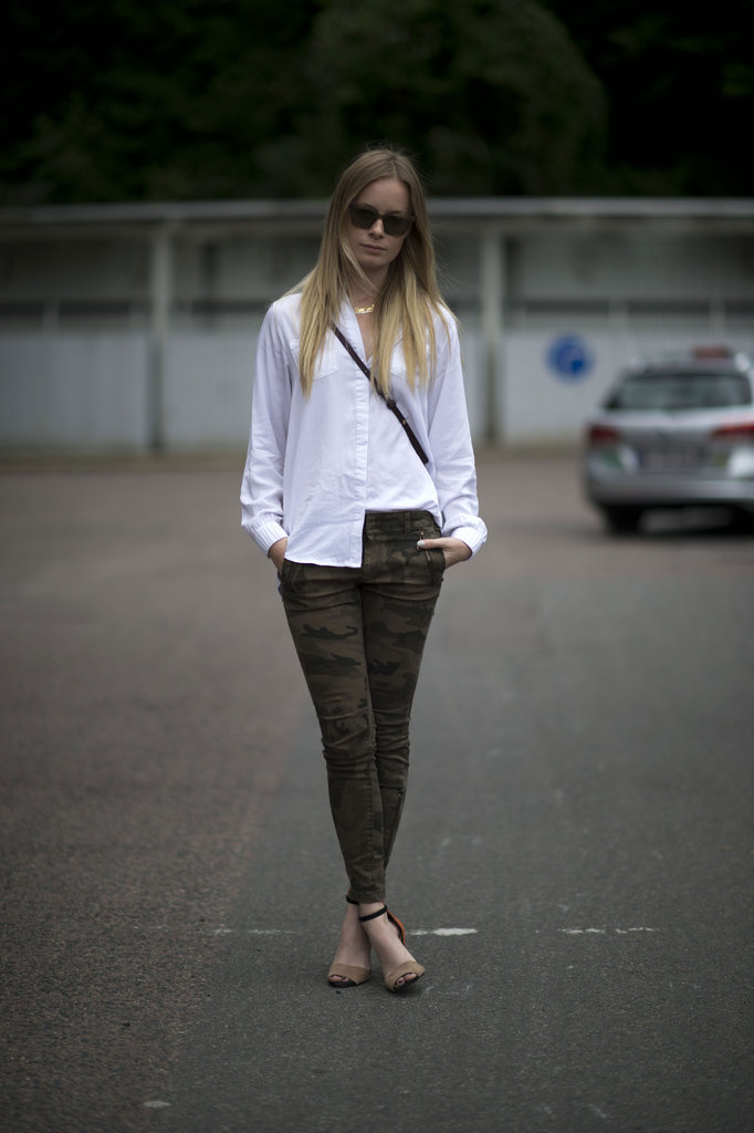 A classic blouse (and a perfect half tuck) help play down this print for pulled-together everyday dressing, with just a little flair. Source: Adam Katz Sinding