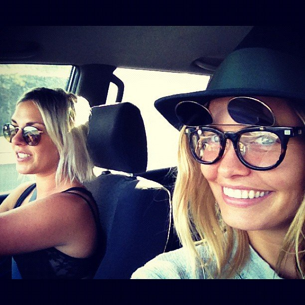Lara Bingle showed off some cute sunglasses during a drive with her friend Cara. Source: Instagram user mslbingle