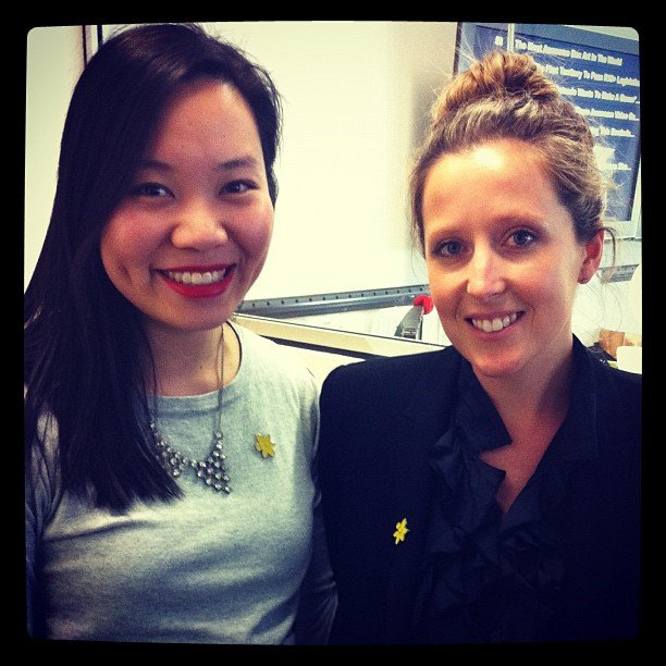 Jess and Tara showed their Daffodil Day support with cute badges.