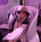 A fresh-faced Whitney Port smiled mid-flight on her way over to Australia.