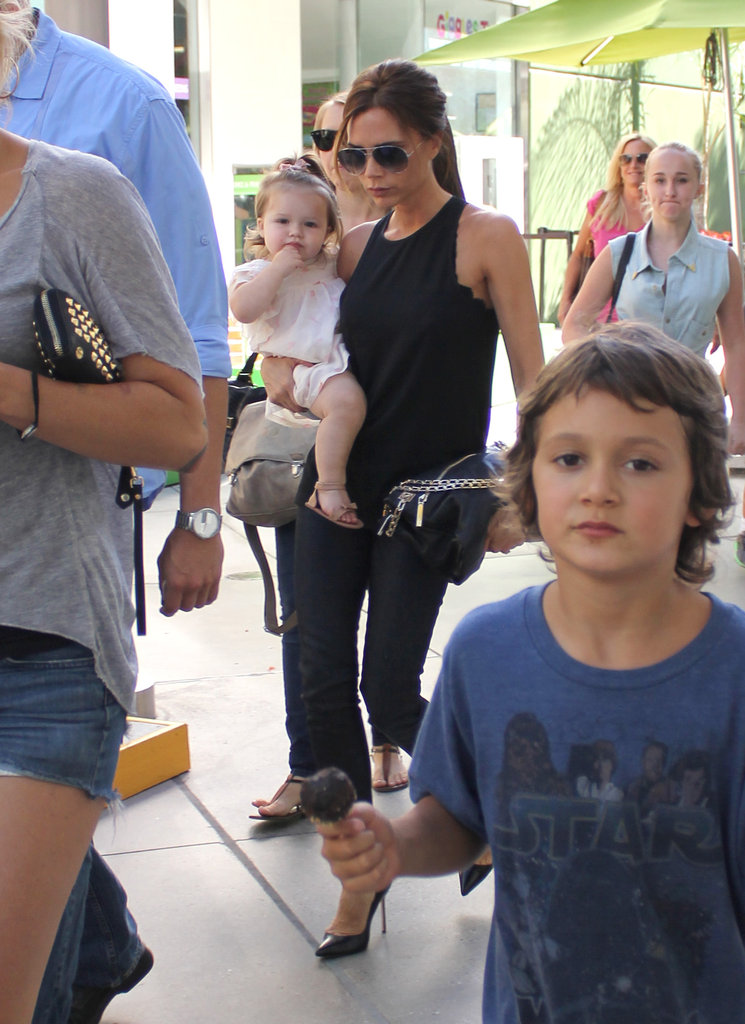 Victoria Beckham and Bow-Wearing Harper Attend a Kids' Party Together