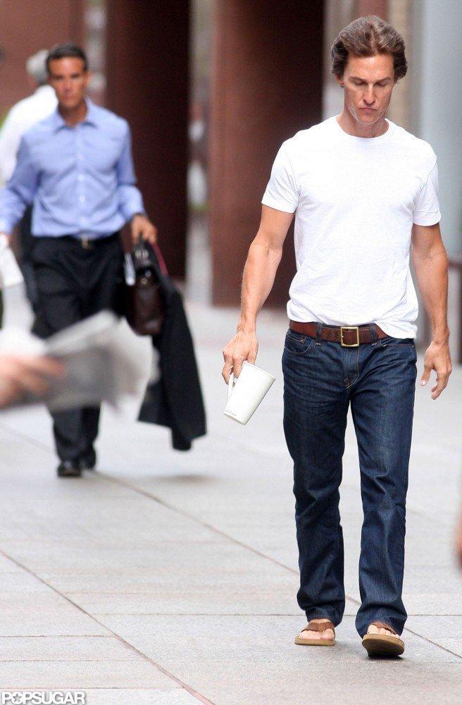 Matthew McConaughey headed to set.