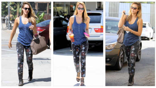 Jessica Alba Shows Us How to Transition Floral-Print Jeans Into Fall