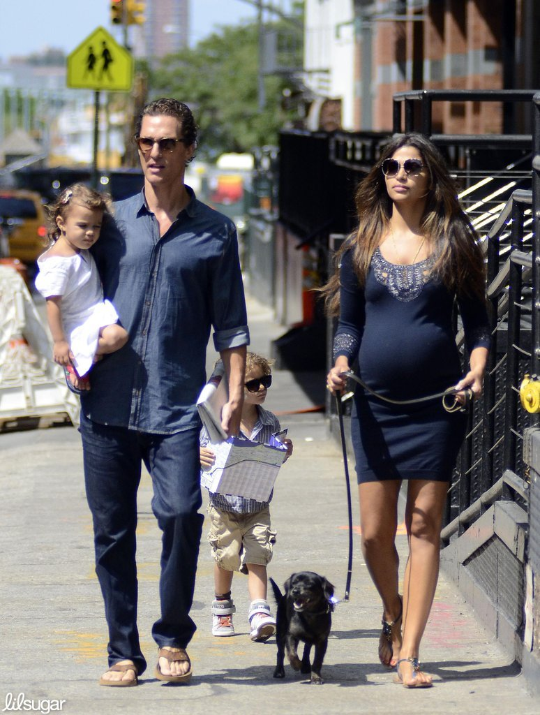 Matthew McConaughey and a pregnant Camila walked in NYC with their kids, Levi and Vida.