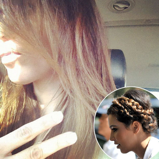 Kim Kardashian's Cool Braid and New Blonde Highlights