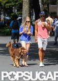 Amanda Seyfried and a friend both wore shorts while walking her dog.