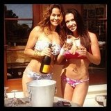 Brooke Burke and a friend sipped on champagne by the beach.  Source: Instagram User thebrookeburke