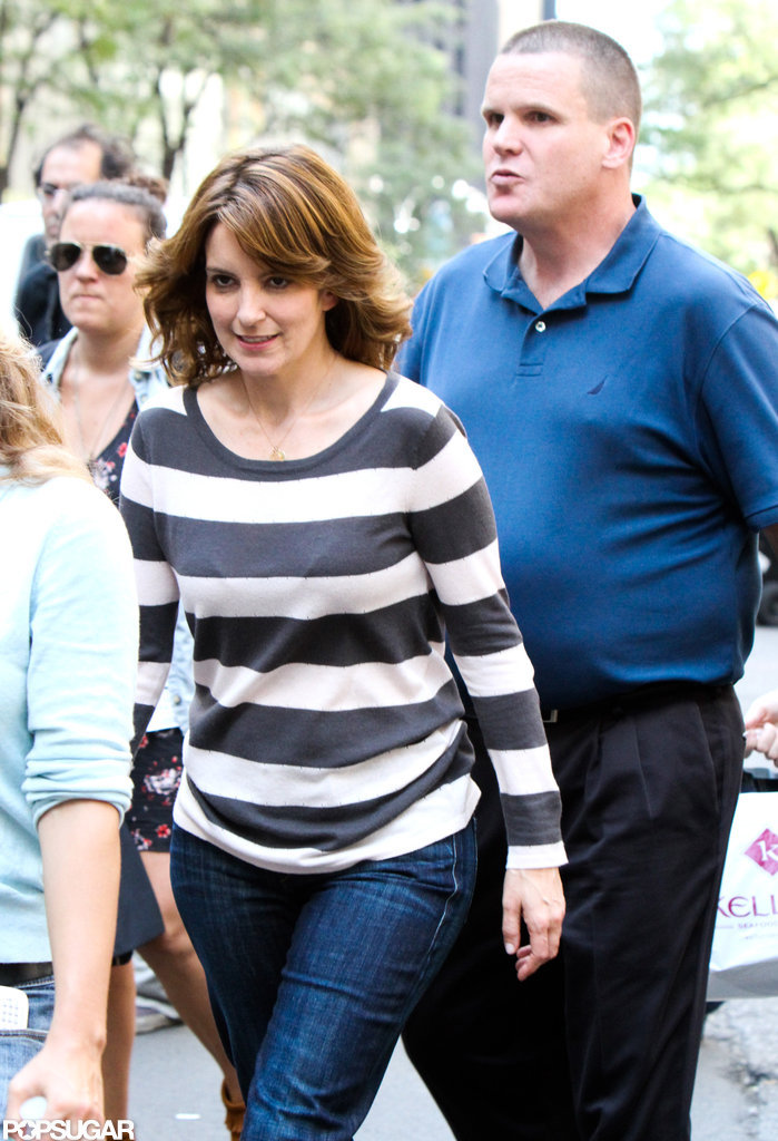 Tina Fey walked to work.