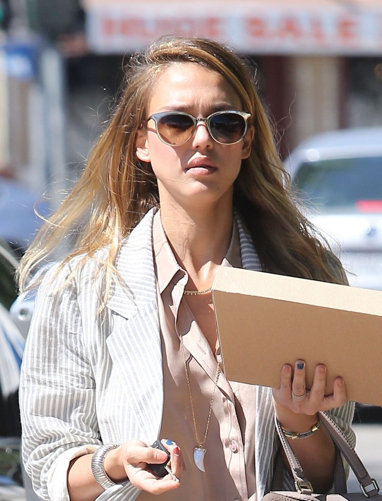 Jessica Alba showed off her newly blond locks in Beverly Hills.
