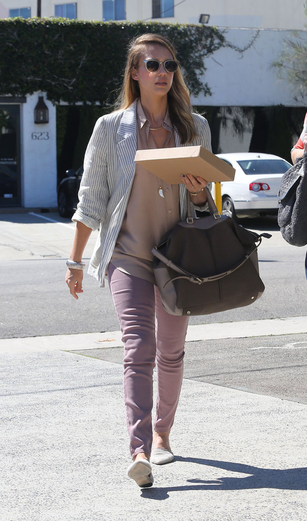 Jessica Alba arrived in Beverly Hills to run some errands.