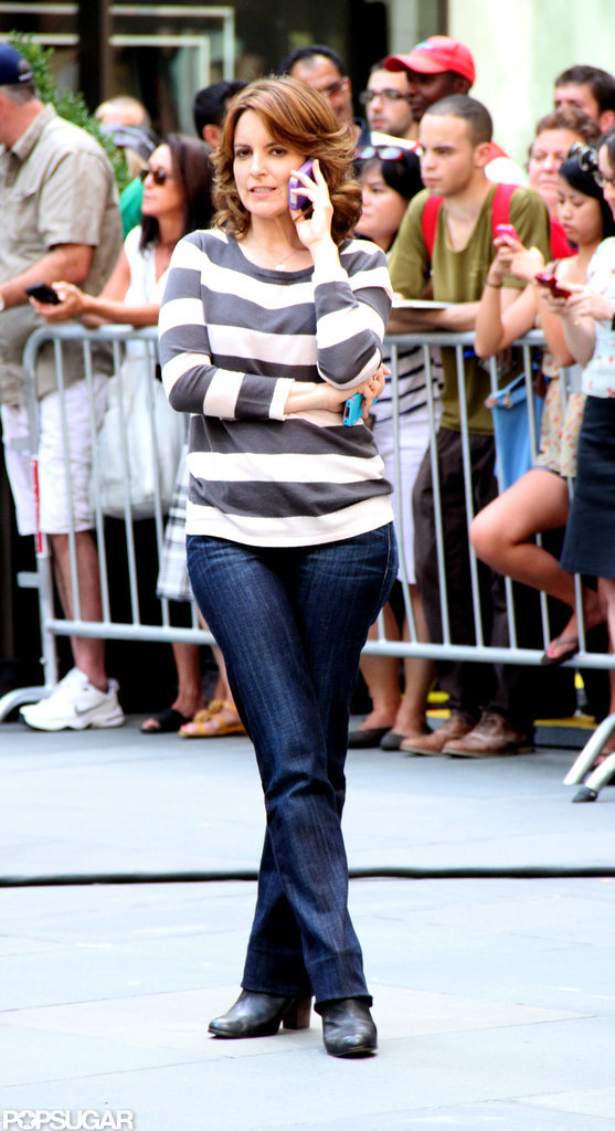 Tina Fey chatted on the set.