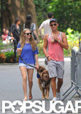 Amanda Seyfried and a friend chatted while walking her dog.