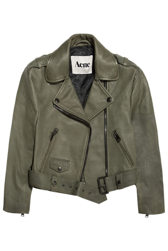 In a rich olive hue, and just a little texture, this is the jacket we'll reach for again and again to give life to our looks.  Acne Mape Cropped Lizzard-Embossed Leather Jacket ($1,200)