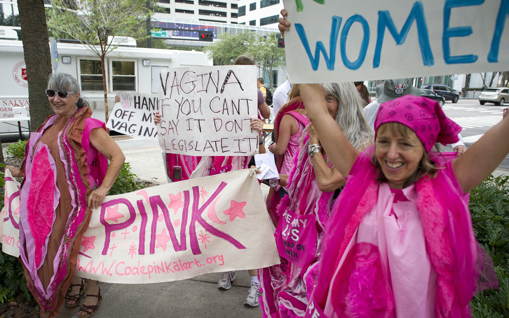 Code Pink protestors weren't shy about their message outside the RNC.