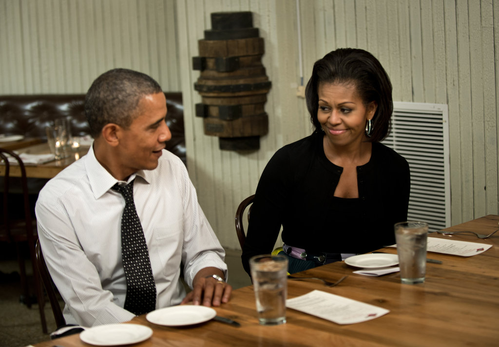 Barack and Michelle Obama gave each other a cute look.