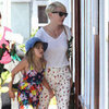 Michelle Williams Wearing Printed Pants