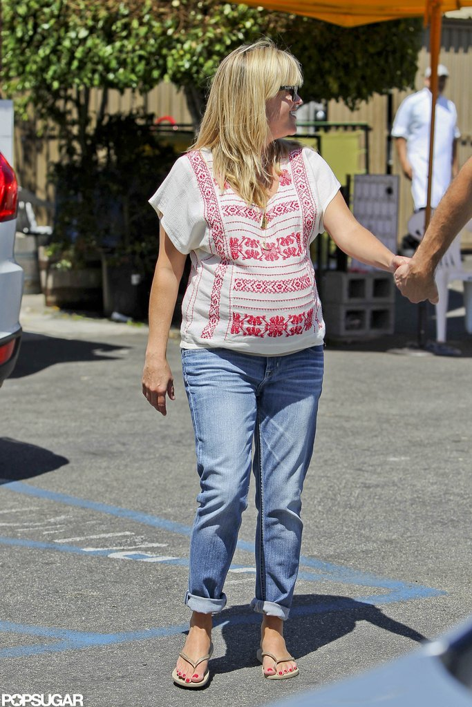 Reese Witherspoon wore an embroidered top.