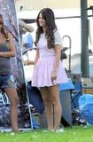 Selena Gomez filmed a scene for Feed the Dog in Monrovia, CA.