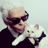 Karl Lagerfeld cuddled with his kitten, Choupette. Source: Instagram user netaporter