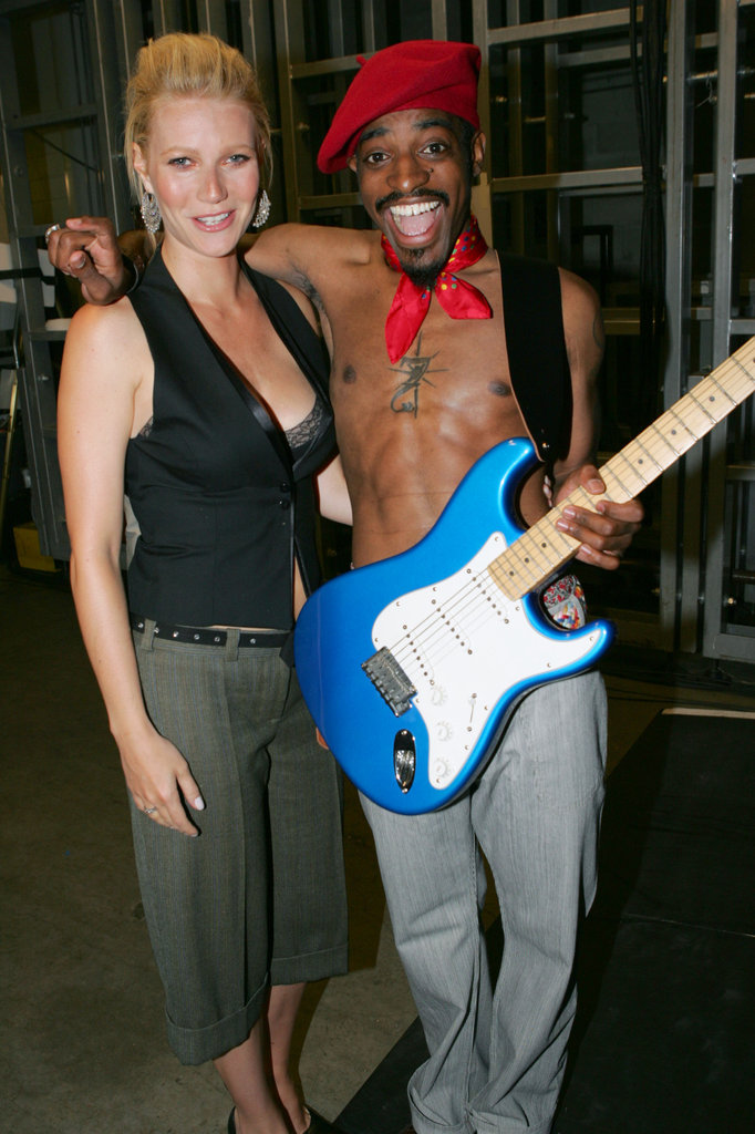 Gwyneth Paltrow's bra peeked out of her vest when she posed with Andre 3000 at the 2004 VMAs.