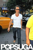 Matthew McConaughey looked skinny in a white t-shirt in NYC.