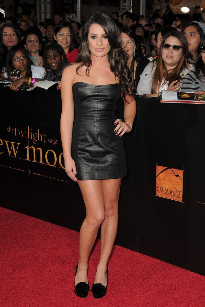 Lea's short, strapless leather Theory dress made a sexy statement at the premiere of The Twilight Saga: New Moon in 2009.