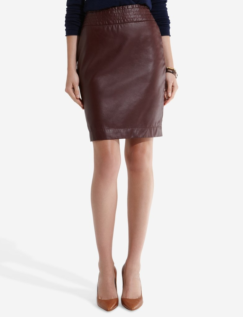 Retire your basic black pencil in favor of this oxblood edition that also speaks to Fall's leather trend.  The Limited Faux Leather Pencil Skirt ($70)