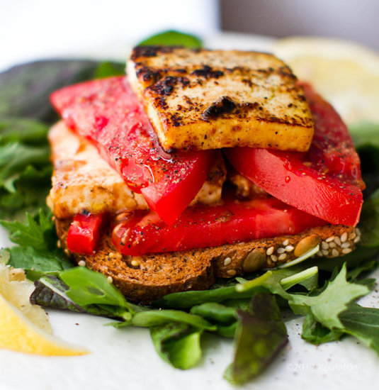 "Skip the fake stuff and opt for tofu disguised as cheese, like in this grilled ""feta"" sandwich."