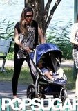 Gisele Bundchen took Benjamin for a walk in his stroller.