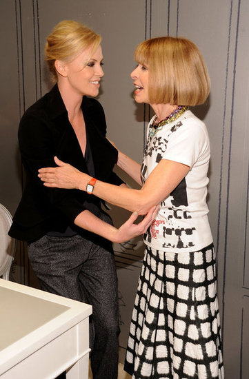Charlize Theron shared a laugh with Anna Wintour in 2010.