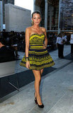 Blake Lively wore a black and yellow Marchesa mini for the Fashion's Night Out runway show in 2010.