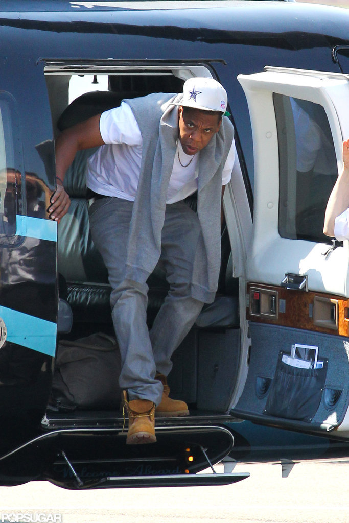 Jay-Z hopped out of a helicopter.