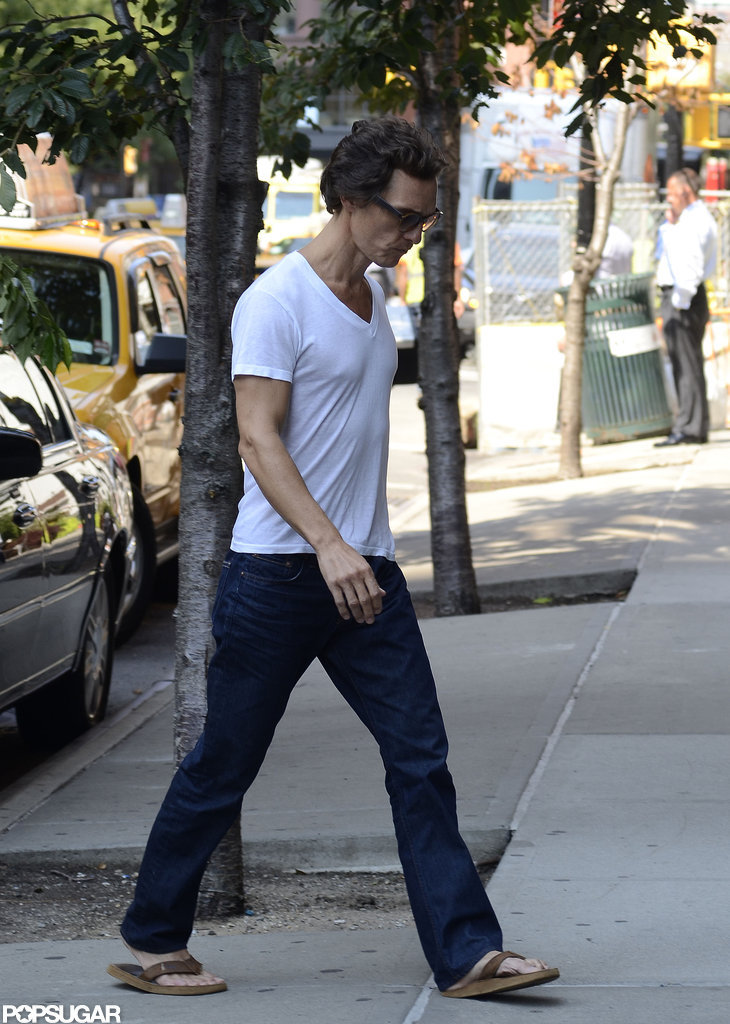 Matthew McConaughey walked into his NYC hotel in a white t-shirt.