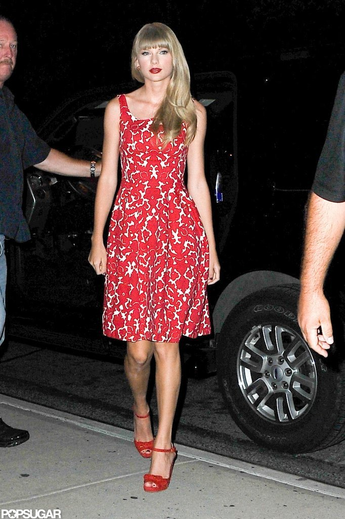 Taylor Swift wore an all-red ensemble out in NYC.