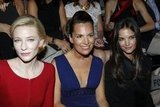 Cate Blanchett, Roberta Armani, and Katie Holmes were serious about the Giorgio Armani Privé Haute Couture show in Paris in July 2011.