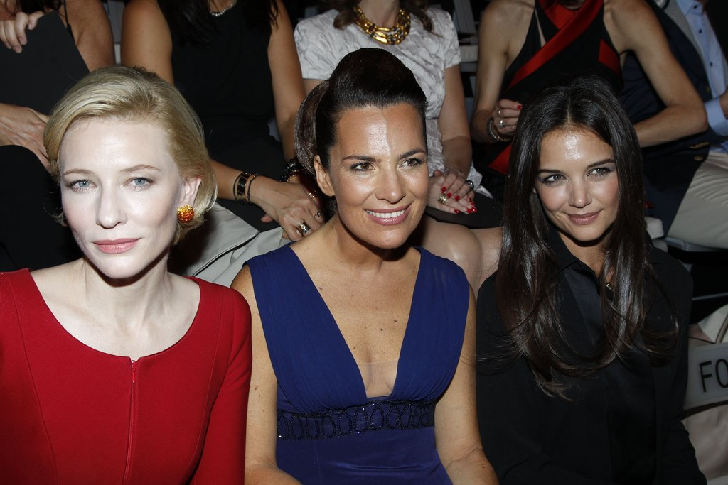 Cate Blanchett, Roberta Armani and Katie Holmes were serious about the Giorgio Armani Privé Haute Couture show in Paris in July 2011.
