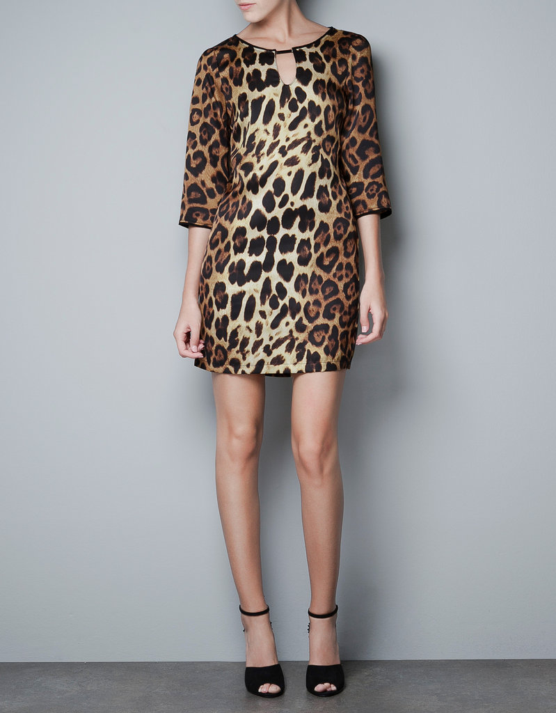 Sport this stunning leopard-print dress with ankle-strap heels and a black car coat for a night out. Zara Leopard Print Satin Tunic ($60)