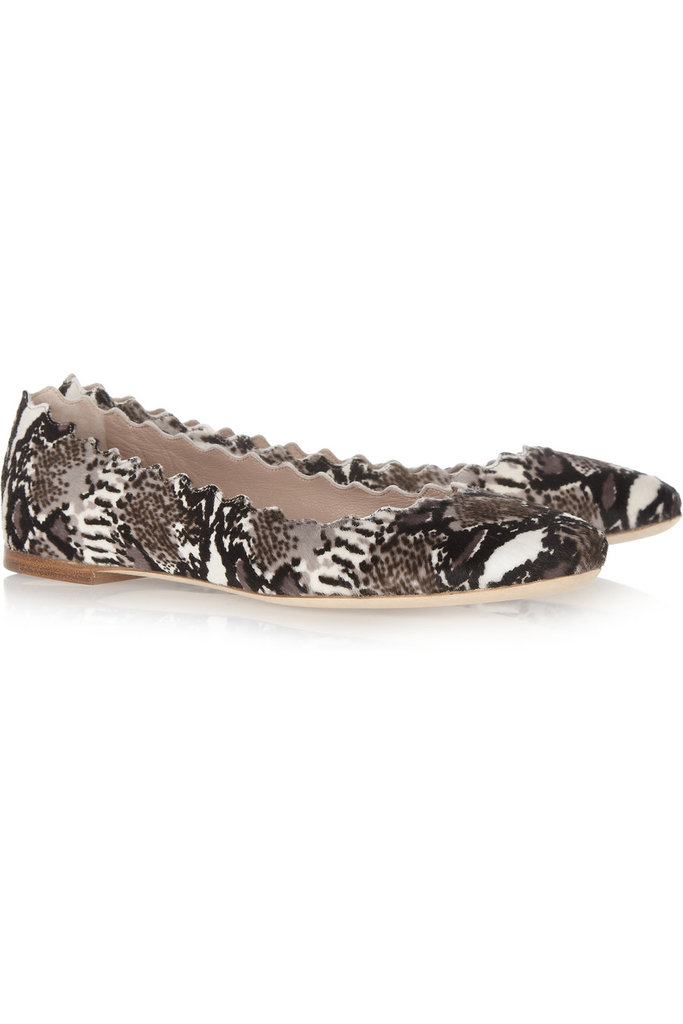 Treat your feet to these animal-print statement ballet flats. Chloé Lauren Animal-Print Calf Hair Ballet Flats ($595)