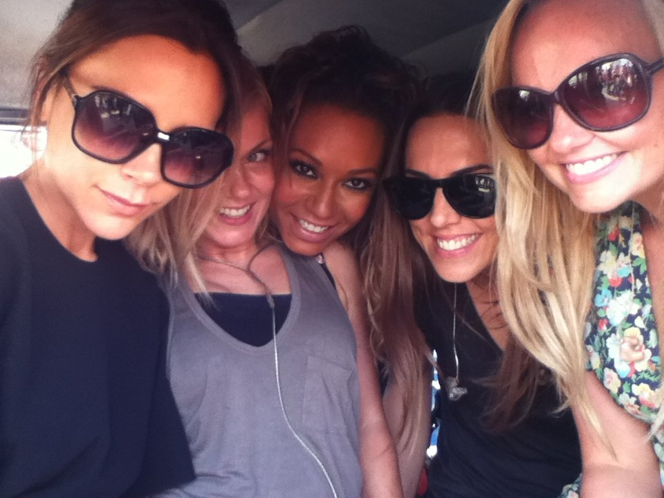 Mel B shared a photo of the Spice Girls during rehearsals for their Olympics closing ceremony performance. Source: Twitter user OfficialMelB