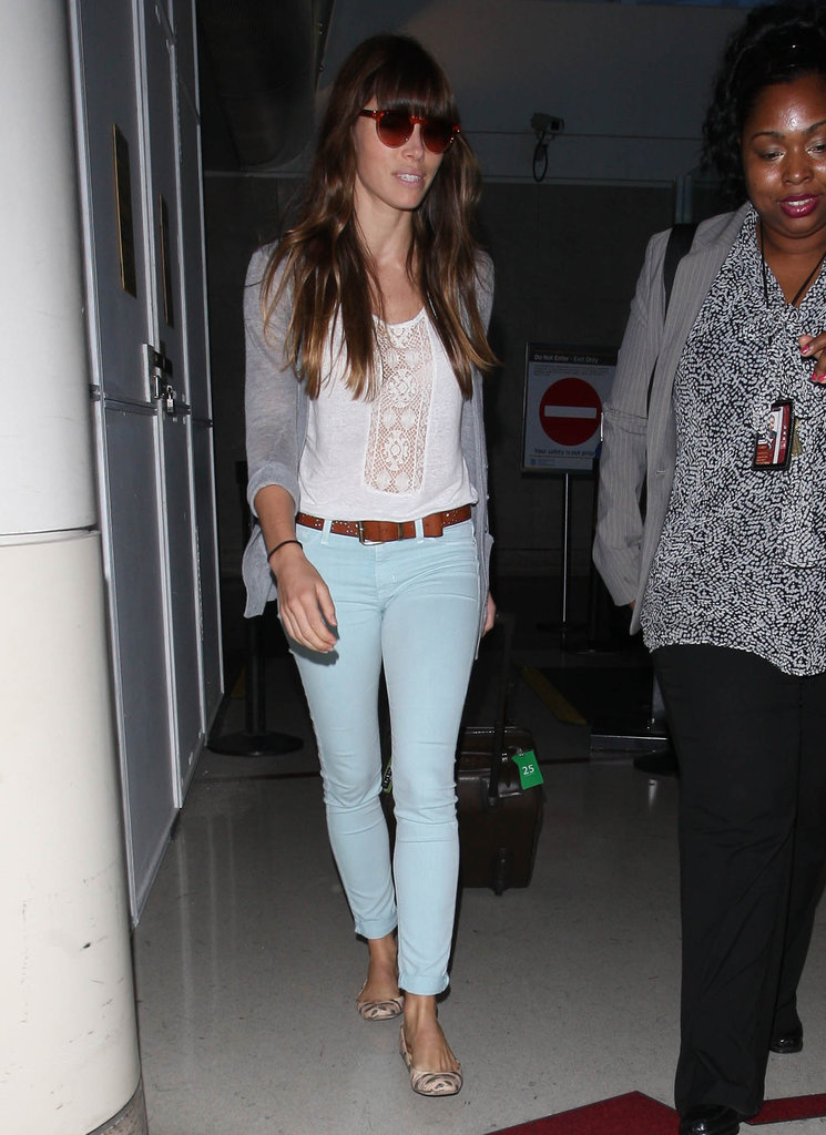 Jessica Biel sported sunglasses while traveling.