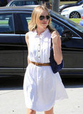 Kate Bosworth wore white while getting her nails done.