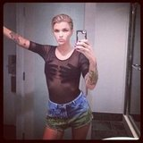 Ruby Rose debuted some newly-blonde locks, and one very risky top! Source: Instagram user Rubyrose86
