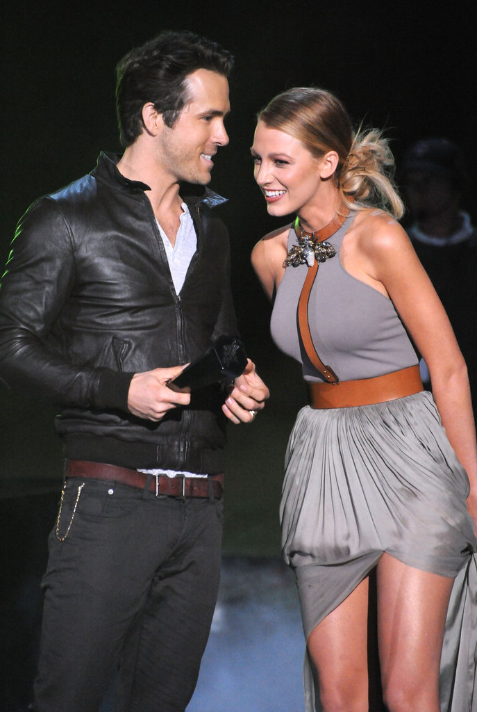 Blake Lively and Ryan Reynolds shared the stage at the Scream Awards in October 2010.