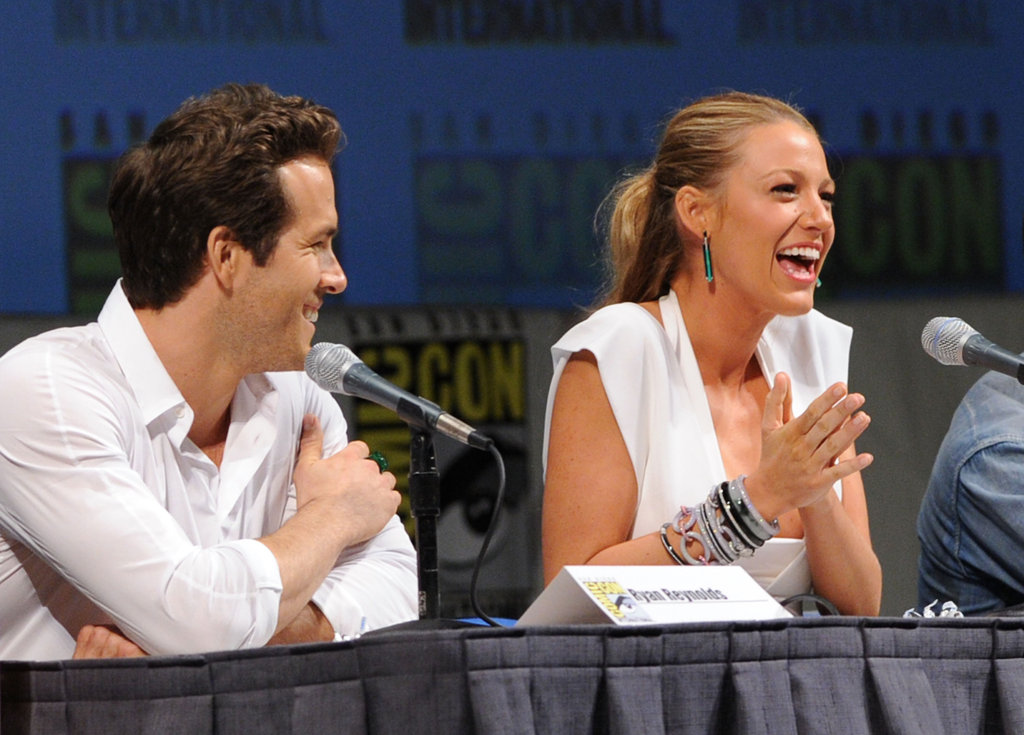 Blake Lively and Ryan Reynolds got animated while chatting up Green Lantern at Comic-Con in July 2010.