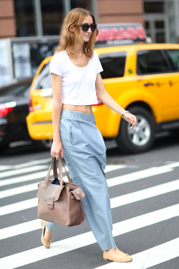 The architectural details on this slouchy pair of pants may be bold, but paired with a white tee and ballet flats they become entirely wearable. Source: Greg Kessler