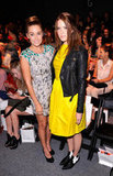 Lauren Conrad, in a printed sheath, and Mandy Moore, in a bright yellow number, posed together while waiting for the Lela Rose show to begin at New York Fashion Week.