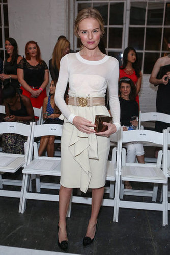 Kate Bosworth was a vision in ruffled white at Altuzarra — and we can't get over how cool her velvet loafer pumps are, too.