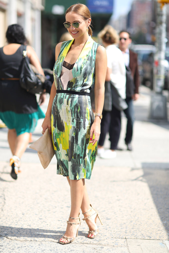 Ladylike wares with a little more personality via a statement print and a sexier neckline. Source: Greg Kessler